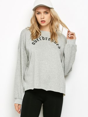 Graphic Raw Edge Oversized Sweatshirt - Gray