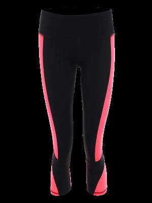 Delgado Color De Bloque Recortada Deportes Polainas - Rosa Fluorescente