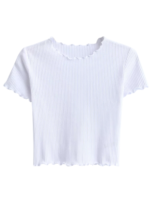 Cropped Frilled T-Shirt - White