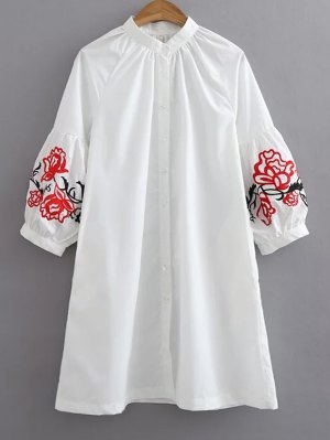 Baggy Embroidered Shirt - White