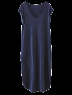 Casual Slit Straight T-Shirt Dress - Cadetblue