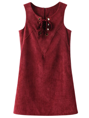 Lace Up Sleeveless Corduroy Dress - Dark Red
