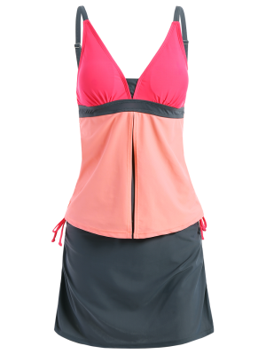 Padded Tankini With Swim Skorts - Pink And Grey