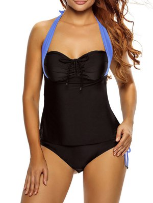 Tankini Top And Loop Tie Side Bottoms - Blue And Black