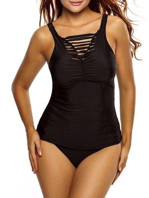 Shirred Strappy Tankini Swimsuits - Black