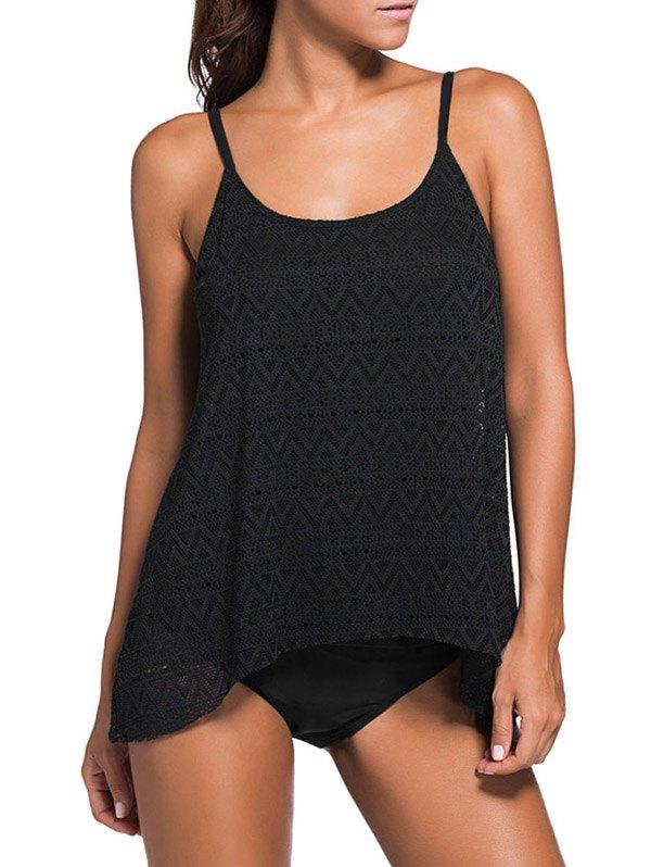 Modest Lace Tankini Swimsuit - Black
