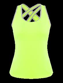 Cruzar Detrás Rellenó Deportivo Top - Amarillo Fluorescente
