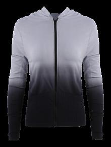 Activewear Ombre cremallera sudadera con capucha