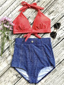 Denim High Waisted Vintage Bikini - Blue