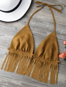 Faux Suede Tassels Bra - Brown S