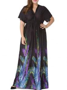 بالاضافة الى حجم قصيرة الأكمام الريشة طباعة الإمبراطورية الخصر فستان ماكسي - أسود Xl