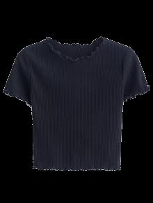 Cropped Flounced T-Shirt - Black