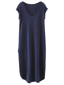 Casual Slit Straight T-Shirt Dress - Cadetblue