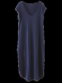 Robe-chemisier Décontractée Droite Avec Entailles - Bleu Cadette