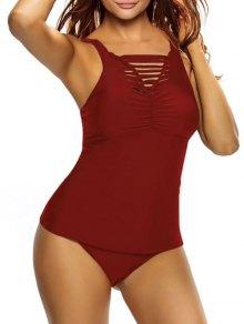 Shirred Strappy Tankini Swimsuits