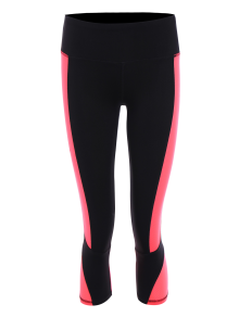 Skinny Color Block Cropped Sports Leggings - Fluorescent Pink