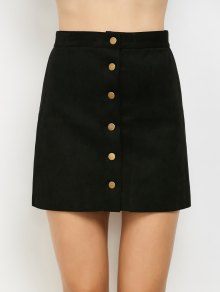 Faux Suede A-Line Skirt - Black