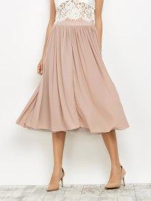Mesh Layers Midi Skirt - Light Pink M