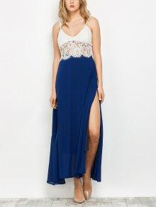 High Slit Chiffon Maxi Skirt - Deep Blue