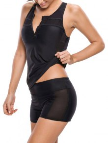 Racerback Tankini With Shorts - Black Xl
