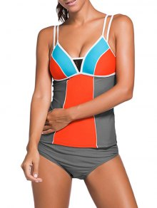 Color Block Tankini Swimsuit For Juniors - Gray + Orange