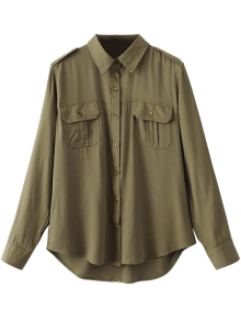 Button Up Curled Sleeve Cargo Shirt - Army Green