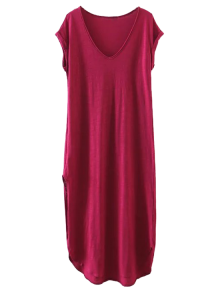 Casual Slit Straight T-Shirt Dress