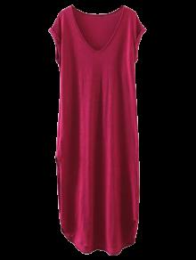 Casual Slit Straight T-Shirt Dress - Wine Red