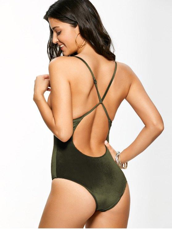 Reversible Cross Back Pleuche Swimwear - BLACKISH GREEN XL Mobile