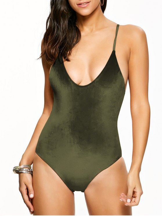 Reversible Cross Back Pleuche Swimwear - BLACKISH GREEN XL Mobile