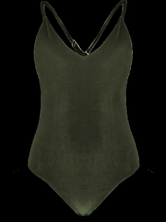 Reversible Cross Back Pleuche Swimwear - BLACKISH GREEN L Mobile
