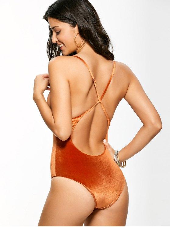 Reversible Cross Back Pleuche Swimwear - ORANGE XL Mobile