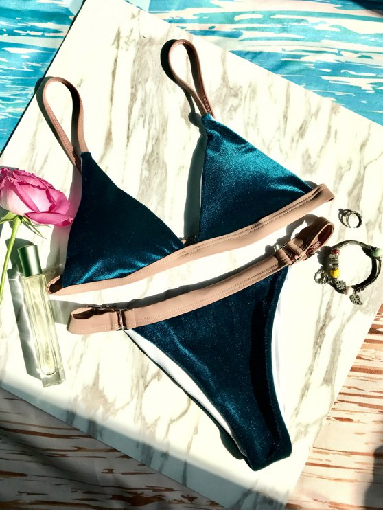 Buckles Velvet High Cut Bikini - DEEP BLUE L Mobile