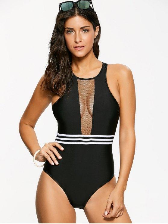 Zippered Racer Back One-Piece Swimwear - BLACK S Mobile