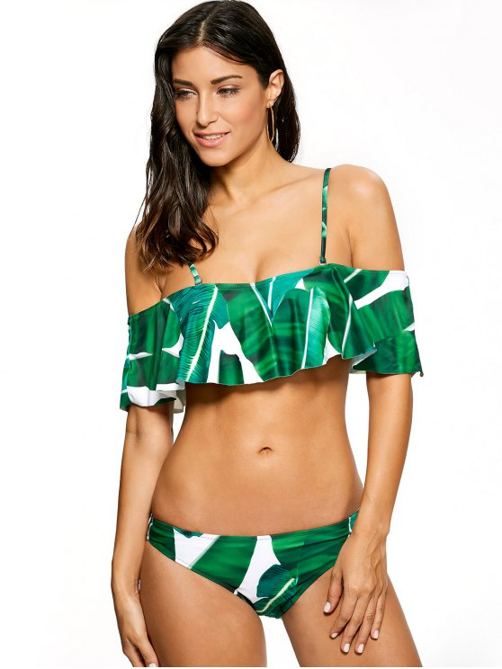 Ruffles Off The Shoulder Bikini - GREEN L Mobile