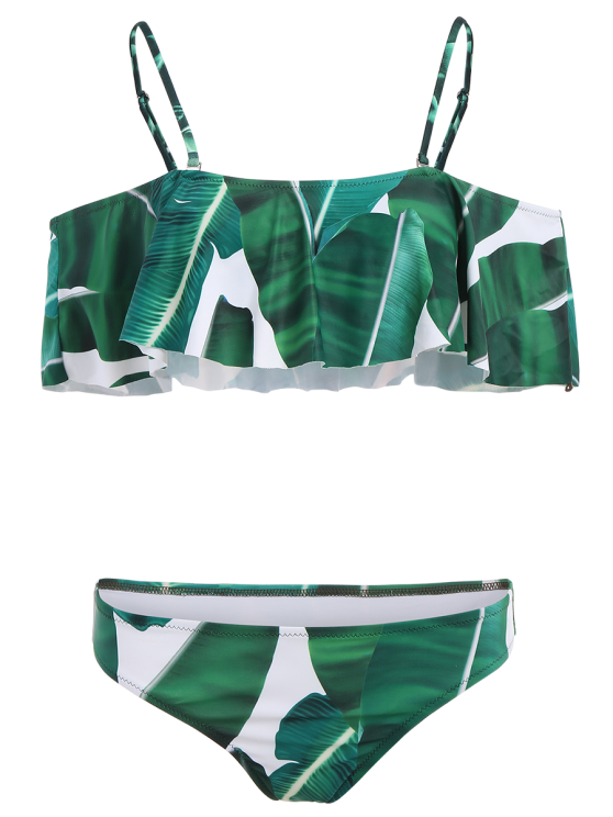 Ruffles Off The Shoulder Bikini - GREEN M Mobile