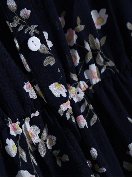 Floral Printed Fall Dress - BLACK M Mobile