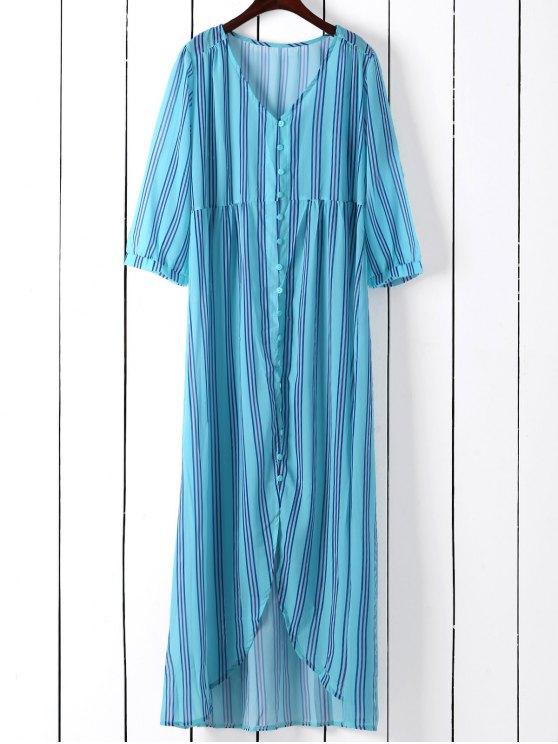 Vertical Stripe unique poitrine-robe - Bleu Vert M