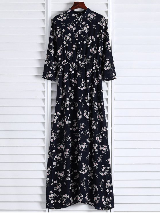 Floral Printed Fall Dress - Negro M