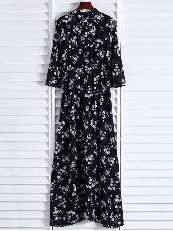 Floral Printed Fall Dress - BLACK L Mobile