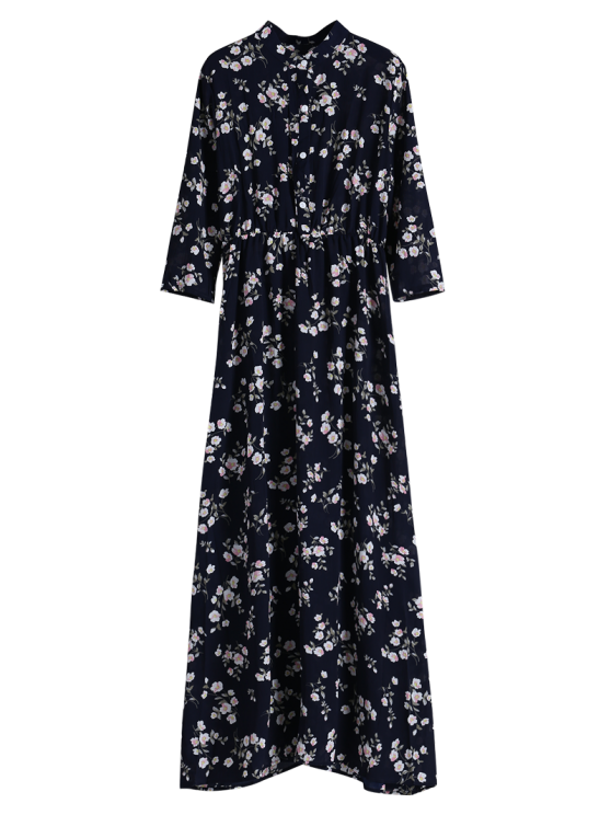 Floral Printed Fall Dress - BLACK XL Mobile