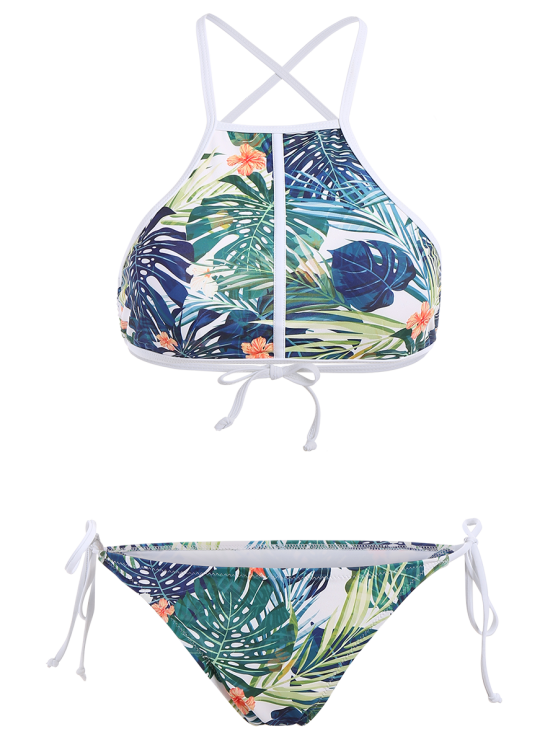 High Neck Tropical Print Bikini - MULTICOLOR L Mobile