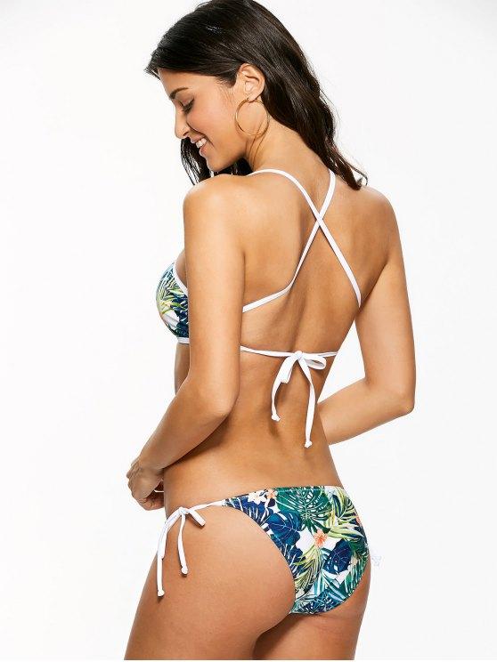 High Neck Tropical Print Bikini - MULTICOLOR M Mobile