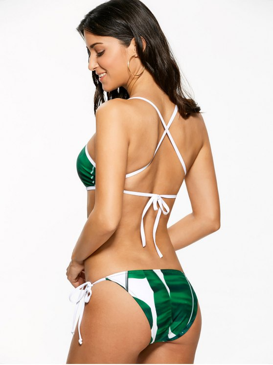 High Neck Palm Leaf Print Bikini - GREEN M Mobile
