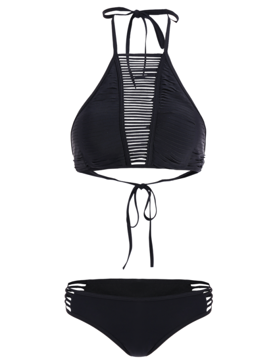 Sheer Stripe High Neck Bikini Set - BLACK M Mobile
