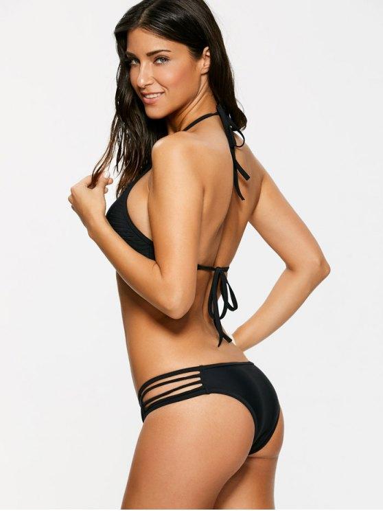 Sheer Stripe High Neck Bikini Set - BLACK S Mobile