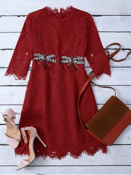 Rhinestoned Scalloped Lace Dress - RED XL Mobile