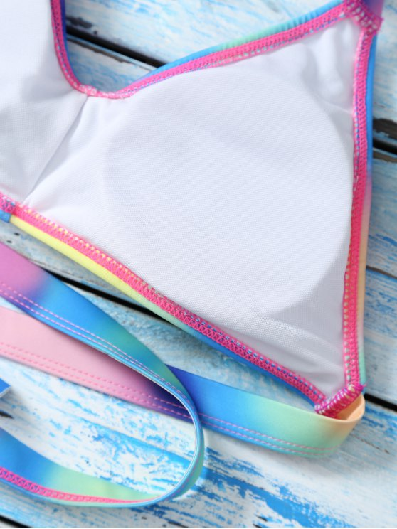 Halter Ombre Cute Bathing Suit Top - MULTICOLOR M Mobile