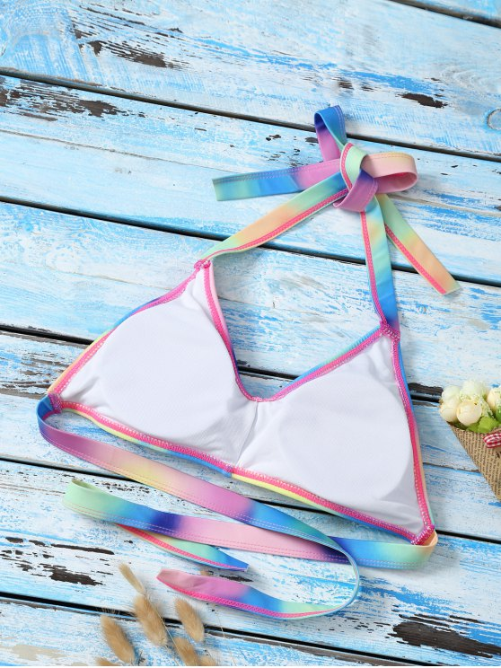 Halter Ombre Cute Bathing Suit Top - MULTICOLOR L Mobile