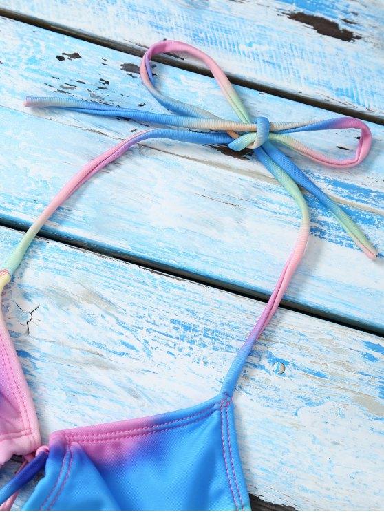 Halter Lace Up Tie Dye Bikini Top - MULTICOLOR L Mobile